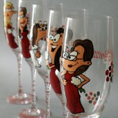 Bridal shower party Custom Wine or Champagne Glasses Personalized Caricatures Cartoon portraits Handpainted to their Likeness
