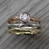 Diamond Twig Wedding Ring Set: Rose, Yellow, and White Gold, .25ct Diamond