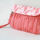 Coral and lace clutch