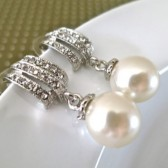 Pearl Bridal Earrings Silver Wedding Rhinestone Dangle Earrings