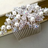 Wedding Hair Comb - Bridal Pearl Rhinestone Hair Comb
