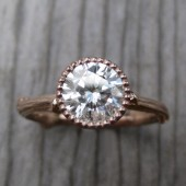 Moissanite Twig Engagement Ring: White, Yellow, or Rose Gold, 1ct, Beaded Bezel