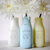 Painted and Distressed Milk Bottles