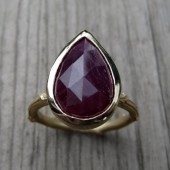 Ruby Twig Cocktail Ring: Yellow Gold, 5.75ct, Pear, Bezel Setting