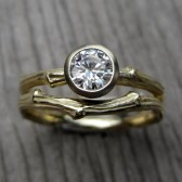 Moissanite Twig Engagement and Wedding Ring Set, Forever Brililant Moissanite with Band