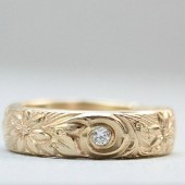 Diamond & Flower 14K Band