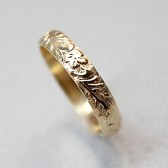 14K Gold Vintage Engraved Wedding Band