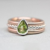 Rose Gold & Silver Peridot Wedding Set