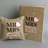 Set of 2 peaces Wedding rustic Burlap guest book and ring pillow Mr and Mrs text and pink heart