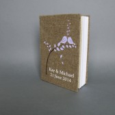 Wedding rustic guest book burlap Linen Wedding guest book Lavander birds on the tree lavander leaves