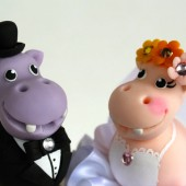 Hippo cake topper, wedding cake topper, wedding keepsake, funny cake topper, animal cake topper, personalized bride and groom, custom cake topper, hand made cake topper,