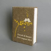 Wedding rustic guest book burlap Linen Wedding guest book Cream birds on the tree Yellow leaves