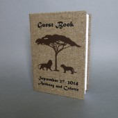 Customized Wedding guest book Lions in safari