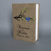 Customized Wedding guest book Blue birds on the tree branch and green leaves
