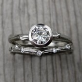 Diamond Twig Wedding Ring Set: .50ct Solitaire with Scattered Diamond Band
