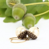 Antique Golden Brass and Pale Gold Pearl Acorn Earrings