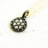 Lucky Seven Minimalist Raw Diamond Necklace Sterling Gold Filled