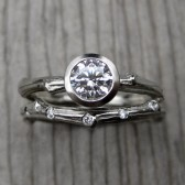 Moissanite Twig Engagement and Wedding Ring Set, 5mm Solitaire, Scattered Diamond Band