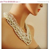Pearl Crystal Chunky Wedding Necklace