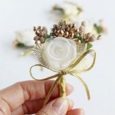 Gold Rustic Boutonniere, Groom Buttonhole, Groomsmen Pins