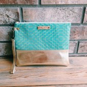 Turquoise and Gold Wristlet