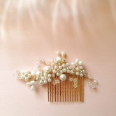 Delicate Bridal hair comb fascinator crystals gold pearls Rhinestones Ivory wedding - Last one