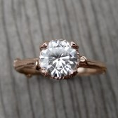 Moissanite Branch Engagement Ring: White, Yellow, or Rose Gold; Carved Floral Setting, 1ct