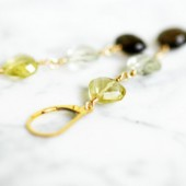 Real Gem Stones Gold Filled Wire Wrap Earrings Fine Jewelry