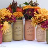 Thanksgiving Wedding Painted Mason Jars