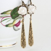 White Flower Vintage Style Dangle Earrings With Etched Brass Teardrops