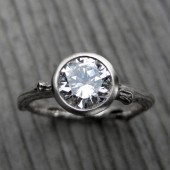 Moissanite Twig Engagement Ring: White, Rose, or Yellow Gold; 1ct Forever Brilliant