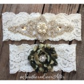 Vintage Pearl and Camo Garter