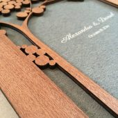 Wood guest book - Custom Guest Book - Woodcut Wedding Album Branches, Modern abstract minimalist anniversary guestbook with woodcut covers