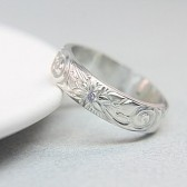 Sterling Silver & Gemstone Engraved Wedding Band