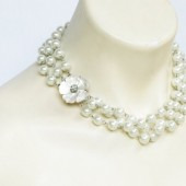 Mother of Pearl Triple Strand Necklace