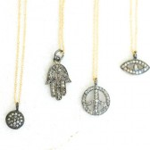 Diamond Necklace Good Luck Hamsa Peace Evil Eye Boho