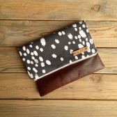 Leather Fold Over Clutch