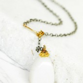 Gold Silver and Snow Quartz Lariat Necklace