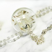 Dandelion necklace, make a wish, mini terrarium jewelry, botanical, gift for bride, good luck charm