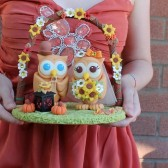 Owl cake topper, love birds, love bird cake topper, country wedding, rustic wedding, rustic cake topper, sunflower wedding, country cake topper, fall wedding, autumn wedding, fall cake topper, custom cake topper