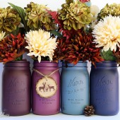 Berry Blue Painted Mason Jars