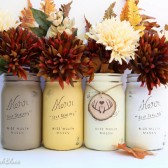 Autumn Sunset Painted Mason jars