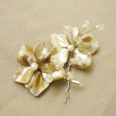 Beach wedding hair accessories, Nacre, Champagne, set of 2