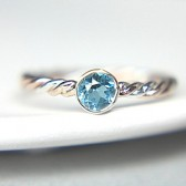 Swiss Blue Topaz & Gold Engagement Ring