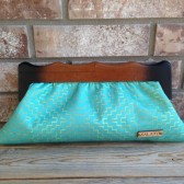 Turquoise and Gold Wooden Framed Clutch
