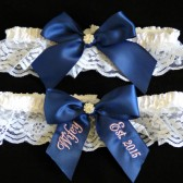 Navy Blue Bridal Garter Set