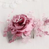 Dusty Rose Bridal Hair Comb, Radiant Orchid Rose Hair Comb