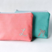 Initial Makeup Bags in Coral and Aqua