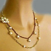 Pearl and Chain Necklace, Bridesmaid Pearl Necklace, Fashion Pearl Necklace, Gold Chain Pearl Necklace, Wedding Jewellery