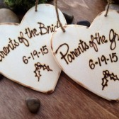 Christmas Ornaments for the Parents of the Bride and Parents of the Groom Wood Hearts Personalized with your Wedding Date